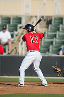 Ryan Leonards (13) of the Kannapolis Intimidators at bat against the Hickory Crawdads at CMC-Northeast Stadium on May 21, 2015 in Kannapolis, North Carolina.  The Intimidators defeated the Crawdads 2-0 in game one of a double-header.  (Brian Westerholt/Four Seam Images)