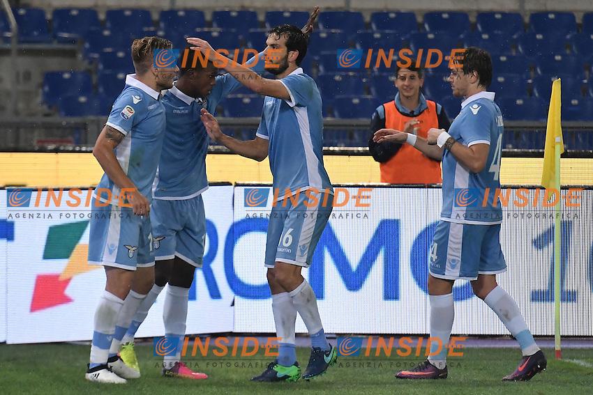 Esultanza Gol Ciro Immobile Lazio 3-0 Goal celebration <br /> Roma 26-10-2016  Stadio Olimpico <br /> Football Calcio Serie A 2016/2017 Lazio - Cagliari <br /> Foto Andrea Staccioli / Insidefoto