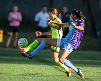 Seattle, WA - Saturday July 23, 2016: Nahomi Kawasumi, Christina Burkenroad during a regular season National Women's Soccer League (NWSL) match between the Seattle Reign FC and the Orlando Pride at Memorial Stadium.
