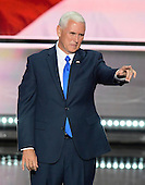 Governor Mike Pence (Republican of Indiana), the GOP nominee for Vice President of the United States acknowledges the crowd following his acceptance speech at the 2016 Republican National Convention held at the Quicken Loans Arena in Cleveland, Ohio on Wednesday, July 20, 2016.<br /> Credit: Ron Sachs / CNP<br /> (RESTRICTION: NO New York or New Jersey Newspapers or newspapers within a 75 mile radius of New York City)