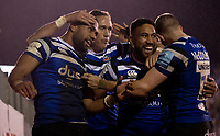 Bath Rugby's Joe Cokanasiga celebrates scoring his sides first try with James Wilson, Cooper Vuna and  Ruaridh McConnochie<br /> <br /> Photographer Bob Bradford/CameraSport<br /> <br /> Gallagher Premiership Round 9 - Bath Rugby v Sale Sharks - Sunday 2nd December 2018 - The Recreation Ground - Bath<br /> <br /> World Copyright © 2018 CameraSport. All rights reserved. 43 Linden Ave. Countesthorpe. Leicester. England. LE8 5PG - Tel: +44 (0) 116 277 4147 - admin@camerasport.com - www.camerasport.com