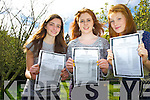 Lauren Quinlivan, Katie O'Connor and Caragh Sugrue, St Brigids Presentation, Killarney, who were very happy with their junior certs which they received at the school on Wednesday. ............................................................................................