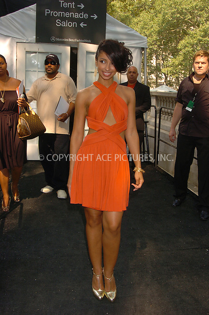 WWW.ACEPIXS.COM . . . . .  ....September 7, 2007. New York City,....Singer Mya attends the Mercedes Benz Fashion Week shows held at Bryant Park in New York City.......Please byline: AJ Sokalner - ACEPIXS.COM.... *** ***..Ace Pictures, Inc:  ..Philip Vaughan (646) 769 0430..e-mail: info@acepixs.com..web: http://www.acepixs.com