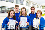 Marian Doherty, Sean Buchanan, Lorna McCarthy and David Coffey, Katie Fleming from Milltown Presentation Secondary School Junior Certs  were delighted to receive their results in their new school on Wednesday