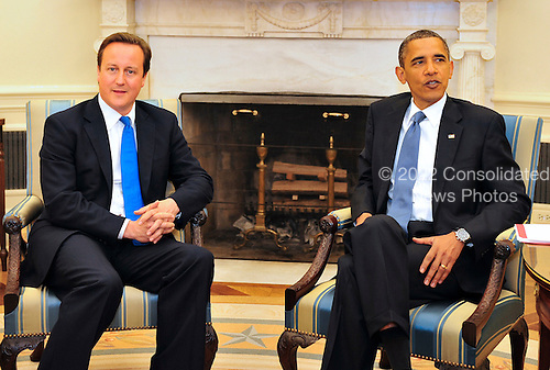 United States President Barack Obama holds a bilateral meeting with Prime Minister David Cameron of the United Kingdom in the Oval Office of the White House in Washington, D.C. on Tuesday, July 20, 2010..Credit: Ron Sachs / Pool via CNP