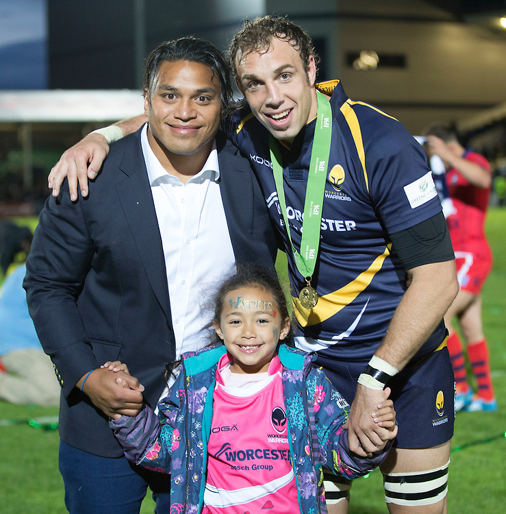 Worcester Warriors' Leonardo Senatore and Of a Fainga'Anuku celebrate tonights win<br /> <br /> Photo by Rachel Holborn/CameraSport<br /> <br /> Rugby Union - Greene King Championship Final 2nd Leg - Worcester Warriors v Bristol - Wednesday 27th May 2015 - Sixways Stadium - Worcester<br /> <br /> &copy; CameraSport - 43 Linden Ave. Countesthorpe. Leicester. England. LE8 5PG - Tel: +44 (0) 116 277 4147 - admin@camerasport.com - www.camerasport.com