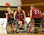 MARSHALL, MN - MARCH 15:   Arinn Young #13 from Alabama applies pressure as Erica Wilson #23 from Illinois passes the ball at the 2018 National Intercollegiate Wheelchair Basketball Tournament at Southwest Minnesota State University in Marshall, MN. (Photo by Dave Eggen/Inertia)