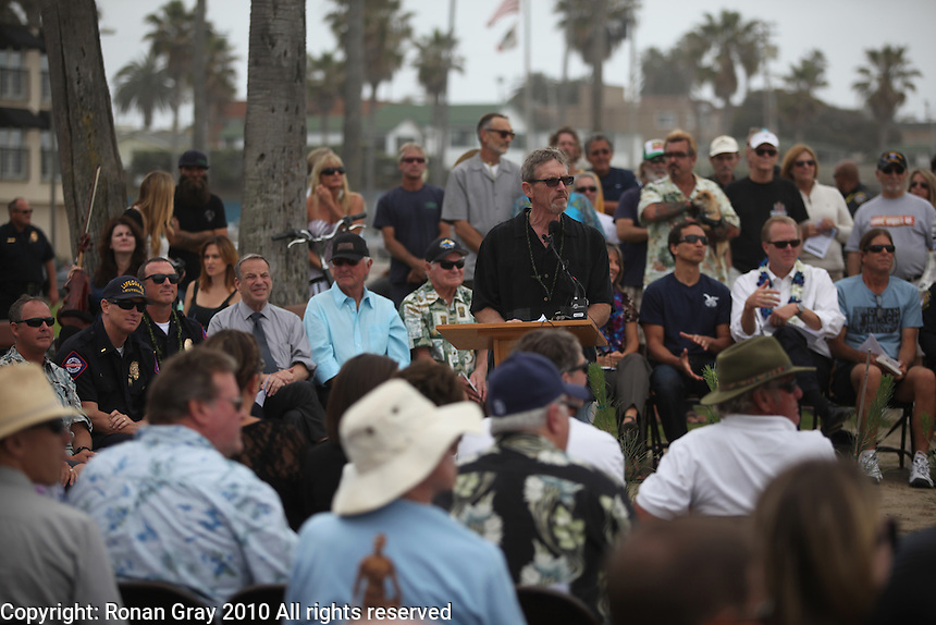May 23, 2013: Ocean Beach, San Diego, California, USA:  Former city council member and master of ceremonies Byron Wear speaks at the San Diego Lifeguard Bronze Memorial Dedication Ceremony.