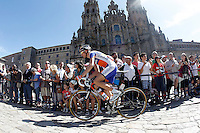 Bauke Mollema passes by the front of the Obradoiro of the Cathedral of Santiago de Compostela before the stage of La Vuelta 2012 between Santiago de Compostela and Ferrol.August 31,2012. (ALTERPHOTOS/Acero)