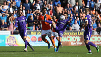 Portsmouth's Ben Close and Blackpool's Joe Nuttall<br /> <br /> Photographer Stephen White/CameraSport<br /> <br /> The EFL Sky Bet League One - Blackpool v Portsmouth - Saturday 31st August 2019 - Bloomfield Road - Blackpool<br /> <br /> World Copyright © 2019 CameraSport. All rights reserved. 43 Linden Ave. Countesthorpe. Leicester. England. LE8 5PG - Tel: +44 (0) 116 277 4147 - admin@camerasport.com - www.camerasport.com
