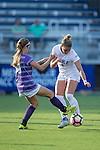 Ashton Miller (4) of the Duke Blue Devils battles for the ball with Becca Rolfe (10) of the High Point Panthers during first half action at Koskinen Stadium on September 11, 2016 in Durham, North Carolina.  The Blue Devils defeated the Panthers 4-1.   (Brian Westerholt/Sports On Film)
