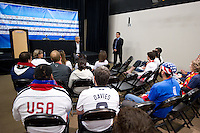 Carson, Ca-January 22, 2010: Sunil Gulati talks with fans before a 1-1 tie with Chile at the Home Depot Center in Carson, California.