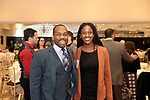 Southington, CT- 03 May 2017-050317CM16-  Social moments from left, Ogewu Agbese with Pratt and Whitney and Tameeka Cribs with Webster Bank are photographed during a United Way of Greater Waterbury celebration at the Aqua Turf on Wednesday.         Christopher Massa Republican-American
