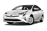 Stock pictures of low aggressive front three quarter view of 2016 Toyota Prius Comfort 5 Door Hatchback Low Aggressive