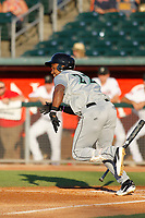 Dayton Dragons outfielder Raul Wallace (22) at bat during a game against the Lansing Lugnuts at Cooley Law School Stadium on August 10, 2018 in Lansing, Michigan. Lansing defeated Dayton 11-4.  (Robert Gurganus/Four Seam Images)