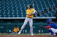AZL Athletics Gold Kyle McCann (33) at bat in front of catcher Richard Nunez (5) during an Arizona League game against the AZL Cubs 1 at Sloan Park on June 20, 2019 in Mesa, Arizona. AZL Athletics Gold defeated AZL Cubs 1 21-3. (Zachary Lucy/Four Seam Images)
