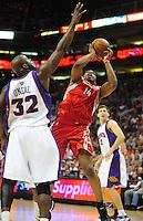 Mar. 22, 2008; Phoenix, AZ, USA; Phoenix Suns center (32) Shaquille O'Neal pressures Houston Rockets forward (14) Carl Landry at the US Airways Center. Mandatory Credit: Mark J. Rebilas