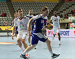 20.01.2013 Barcelona, Spain. IHF men's world championship, eighth.final. Picture show Arnor Gunnarsson  in action during game between Island  vs France at Palau st Jordi