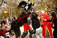 Traditional Vietnamese dancers perform during an Asian New Year festival, Sunday, Jan. 25, 2009, at Lien Hoa Buddhist temple in San Antonio. (Darren Abate/pressphotointl.com)