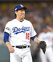 Kenta Maeda (Dodgers),<br /> OCTOBER 20, 2016 - MLB :<br /> Kenta Maeda of the Los Angeles Dodgers looks dejected after hitting the Chicago Cubs right fielder Jason Heyward (not pictured) in the fourth inning during the game five of the National League Championship Series against the Chicago Cubs on October 20, 2016, at Dodger Stadium in Los Angeles, CA. (Photo by AFLO)
