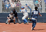 April 7, 2012:   Nevada Wolf Pack pitcher Karlyn Jones throws to San Jose State Spartans Annica Wolfe during their game played at Christina M. Hixson Softball Park on Saturday in Reno, Nevada.