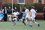 SALEM, VA - DECEMBER 3:David Waterson (17) of Calvin College and Stephen McMillian (5) of Tufts University battle for the ball during theDivision III Men's Soccer Championship held at Kerr Stadium on December 3, 2016 in Salem, Virginia. Tufts defeated Calvin 1-0 for the national title. (Photo by Kelsey Grant/NCAA Photos)