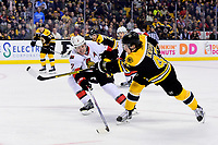 Tuesday, March 21, 2017: Tuesday, March 21, 2017: Ottawa Senators defenseman Dion Phaneuf (2) tries to stop Boston Bruins defenseman Torey Krug's (47) one-timer during the National Hockey League game between the Ottawa Senators and the Boston Bruins held at TD Garden, in Boston, Mass. Eric Canha/CSM