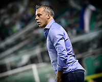 PALMIRA - COLOMBIA, 20-11-2019: Lucas Pusineri técnico del Cali gesticula durante partido entre Deportivo Cali y América de Cali por la fecha 4, cuadrangulares semifinales, de la Liga Águila II 2019 jugado en el estadio Deportivo Cali de la ciudad de Palmira. / Lucas Pusineri coach of Cali gestures during match between Deportivo Cali and America de Cali for the date 4, quadrangulars semifinals, as part of Aguila League II 2019 played at Deportivo Cali stadium in Palmira city. Photo: VizzorImage / Nelson Rios / Cont