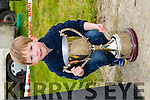 Cian O'Brien with the Dominic O'Brien Memorial Cup, in Memory of his Grandfather from Abbeyfeale at the Abbeydorney Coursing on Sunday