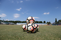 Cary, North Carolina  - Saturday August 19, 2017: Nike NWSL balls prior to a regular season National Women's Soccer League (NWSL) match between the North Carolina Courage and the Washington Spirit at Sahlen's Stadium at WakeMed Soccer Park. North Carolina won the game 2-0.