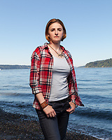 Captain Jennifer Peace, is an active duty US Army Intelligence Officer, photographed at Point Defiance, in Tacoma Washington