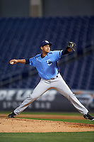 Charlotte Stone Crabs relief pitcher Yonny Chirinos (15) delivers a pitch during a game against the Clearwater Threshers on April 12, 2016 at Bright House Field in Clearwater, Florida.  Charlotte defeated Clearwater 2-1.  (Mike Janes/Four Seam Images)