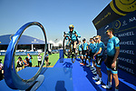 Vittorio Brumotti with Astana Pro Team at sign on before the start of Stage 1 The Nakheel Stage of the Dubai Tour 2018 the Dubai Tour&rsquo;s 5th edition, running 167km from Skydive Dubai to Palm Jumeirah, Dubai, United Arab Emirates. 6th February 2018.<br /> Picture: LaPresse/Massimo Paolone | Cyclefile<br /> <br /> <br /> All photos usage must carry mandatory copyright credit (&copy; Cyclefile | LaPresse/Massimo Paolone)