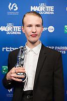 Victor Polster récompensé pour le Magritte de la meilleure actrice, lors de la 9ème Cérémonie des Magritte du Cinéma, qui récompense le septième art belge, au Square, à Bruxelles.<br /> Belgique, Bruxelles, 2 février 2019.<br /> Best actor award winner Victor Polster poses with his award during the 9th edition of the Magritte du Cinema awards ceremony, <br /> Belgium, Brussels, 2 February 2019.
