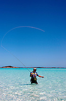 Fly fishing on an unnamed island off Highbourne Cay, Exuma Islands, Bahamas.