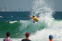 SNAPPER ROCKS, Queensland/Australia (Monday, 27 February, 2012) Taj Burrow (AUS)– The Quiksilver Pro Gold Coast presented by Land Rover, the opening stop on the 2012 Men's ASP World Championship Tour, ran for the fourth consecutive day at Snapper Rocks today, in two-to-three foot (1 metre) waves at Snapper Rocks.. .Adriano De Souza (BRA), 25, won the first three-man, non-elimination heat of Round 4 of the Quiksilver Pro. The lead changed multiple times between De Souza, Owen Wright (AUS), 22, and Josh Kerr (AUS), 27, with the Brazilian taking out the two Australians and advancing directly into the Quarterfinals.. .De Souza will once again face Owen Wright (AUS), 22, who went on to win his afternoon Round 5 heat, in Quarterfinal 1 when competition resumes.. .Kelly Slater (USA), 40, reigning 11 x ASP World Champion and last year's Quiksilver Pro winner, didn't take his foot off the gas in his morning Round 4 heat win. The iconic Floridian built momentum throughout the affair, even changing equipment mid-heat to adjust to the conditions. .Slater will now face Josh Kerr (AUS), 27, in Quarterfinal 2 when competition resumes.. .Jordy Smith (ZAF), 24, edged out Joel Parkinson (AUS), 30, and Miguel Pupo (BRA), 20, in an exciting Round 4 exchange at Snapper Rocks. Smith and Parkinson put on an epic show for the crowd and finished the heat with only 0.14 separating their score lines..Photo: joliphotos.com