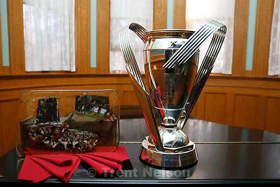 trophy with my photos. Celebration for Real Salt Lake's MLS Cup win Tuesday, November 24 2009.