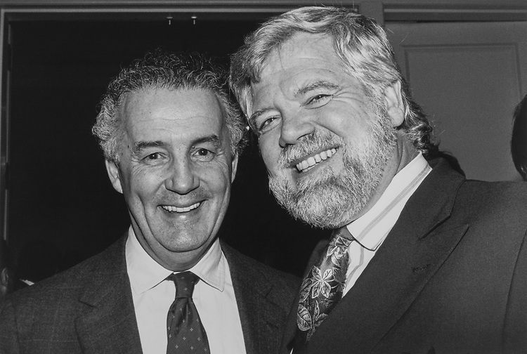 Sen. Paul Sarbanes, D-Md., and Rep. Jim McDermott, D-Wash., at National Democratic Institute Award dinner on March 11, 1991. (Photo by Laura Patterson/CQ Roll Call via Getty Images)