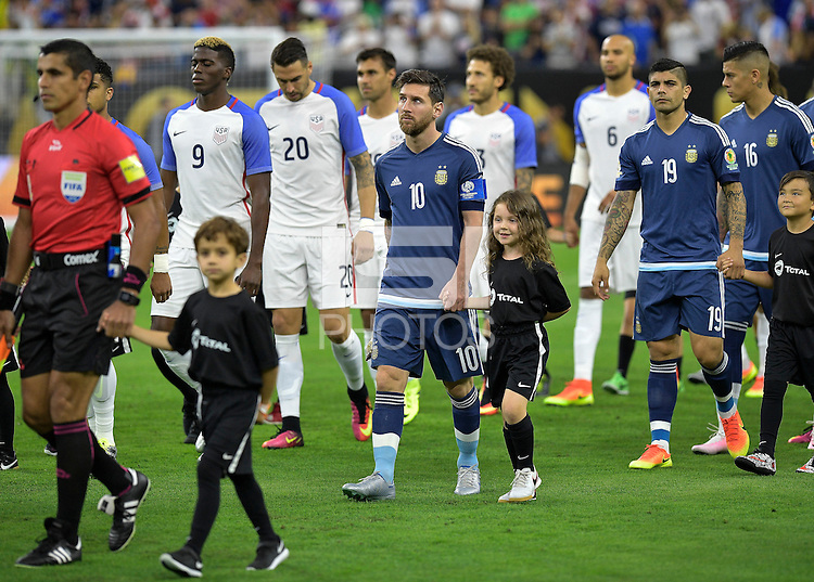 Houston, TX - Tuesday June 21, 2016: Lionel Messi prior to a Copa America Centenario semifinal match between United States (USA) and Argentina (ARG) at NRG Stadium.