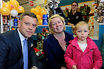 FREE PIC - NO REPRO FEE<br /> 24/09/2015 - Blackpool, Cork<br /> Rebecca Brady from Leamlara with her daughter Alex (3) meet David Ginnifer, Customer Service Manager at the official opening of the new Dealz store at Blackpool Retail Park, Cork.<br /> Pic: Brian Lougheed