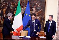 Roma, 4 Maggio 2017<br /> Alberto Calcagno AD Fastweb<br /> Palazzo Chigi,  cerimonia di firma del Protocollo d&rsquo;intesa sui Call Center, con il Presidente del Consiglio Paolo Gentiloni  e il Ministro dello Sviluppo Economico Carlo Calenda.