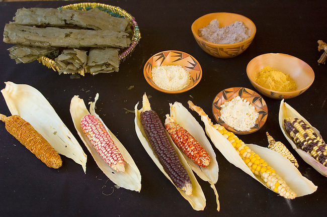 Colorful Hopi corn is ground down into various flours. Different colored corns make various colored flours. Traditional Hopi piki bread, the grey tubular rounds, are made from ground blue corn and ash, baked on a hot flat stone and then rolled.