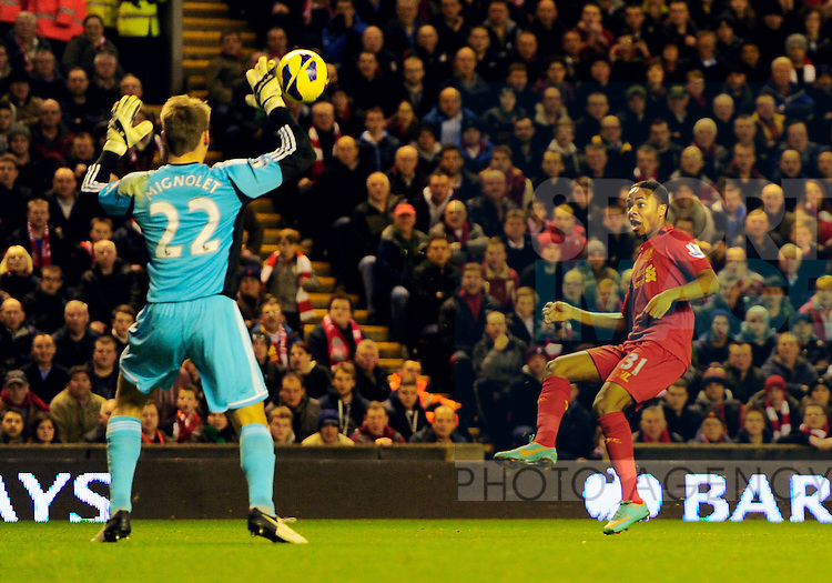 Raheem Sterling of Liverpool scores the first goal - Barclays Premier League - Liverpool vs Sunderland - Anfield Stadium - Liverpool - 02/01/13 - Picture Simon Bellis/Sportimage