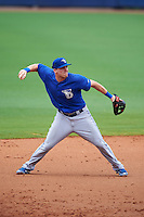 Dunedin Blue Jays third baseman Mitch Nay (28) throws to first during a game against the Charlotte Stone Crabs on July 26, 2015 at Charlotte Sports Park in Port Charlotte, Florida.  Charlotte defeated Dunedin 2-1 in ten innings.  (Mike Janes/Four Seam Images)