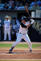 UCF Knights first baseman Dallas Beaver (38) at bat during a game against the Siena Saints on February 17, 2019 at John Euliano Park in Orlando, Florida.  UCF defeated Siena 7-1.  (Mike Janes/Four Seam Images)