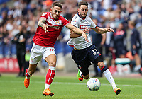 Bolton Wanderers' Will Buckley competing with Bristol City's Adam Webster<br /> <br /> Photographer Andrew Kearns/CameraSport<br /> <br /> The EFL Sky Bet Championship - Bolton Wanderers v Bristol City - Saturday August 11th 2018 - University of Bolton Stadium - Bolton<br /> <br /> World Copyright &copy; 2018 CameraSport. All rights reserved. 43 Linden Ave. Countesthorpe. Leicester. England. LE8 5PG - Tel: +44 (0) 116 277 4147 - admin@camerasport.com - www.camerasport.com