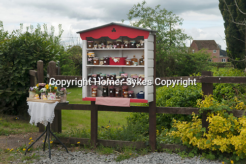 Home Made Jam, chutney  for sale outside a Somerset farmhouse. UK.