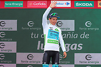 ESPAÑA, 28-08-2019: Miguel Angel lopez (COL - ASTANA) celebra con el maillot blanco mejor corredor joven después de la etapa 5, hoy, 28 de agosto de 2019, que se corrió entre L' Eliana y el Observatorio Astrofísico de Javalambre con una distancia de 170,7 km como parte de La Vuelta a España 2019 que se disputa entre el 24/08 y el 15/09/2019 en territorio Español. / Miguel Angel lopez (COL - ASTANA) celebrates with white best young rider jersey after stage 5 today, August 28, 2019, from L'Eliana to Javalambre Astrophysical Observatory with a distance of 170,7 km as part of Tour of Spain 2019 which takes place between 08/24 and 09/15/2019 in Spain.  Photo: VizzorImage / Luis Angel Gomez / ASO<br /> VizzorImage PROVIDES THE ACCESS TO THIS PHOTOGRAPH ONLY AS A PRESS AND EDITORIAL SERVICE AND NOT IS THE OWNER OF COPYRIGHT; ANOTHER USE HAVE ADDITIONAL PERMITS AND IS  REPONSABILITY OF THE END USER