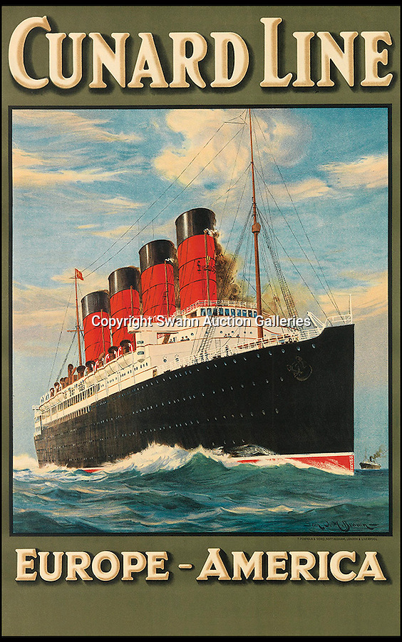 BNPS.co.uk (01202 558833)<br /> Pic: SwannGalleries/BNPS<br /> <br /> ***Please Use Full Byline***<br /> <br /> Cunard Line 1907 Lusitania - £4000.<br /> <br /> Beautiful posters from the halcyon days of travel up for auction.<br /> <br /> Scarce vintage travel posters promoting holidays across the globe in the 1920's and 30's are tipped to sell for over £200,000 .<br /> <br /> The fine collection of 200 works of art that hark back to the halcyon days of train and boat travel have been brought together for sale.<br /> <br /> The posters were used to advertise dream holiday destinations in far-flung places such as the US and Australia and to celebrate the luxurious ways of getting to them.<br /> <br /> Most of the advertising posters date back to the 1930s and are Art Deco in style and they are all from the original print-run.