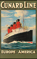 BNPS.co.uk (01202 558833)<br /> Pic: SwannGalleries/BNPS<br /> <br /> ***Please Use Full Byline***<br /> <br /> Cunard Line 1907 Lusitania - &pound;4000.<br /> <br /> Beautiful posters from the halcyon days of travel up for auction.<br /> <br /> Scarce vintage travel posters promoting holidays across the globe in the 1920's and 30's are tipped to sell for over &pound;200,000 .<br /> <br /> The fine collection of 200 works of art that hark back to the halcyon days of train and boat travel have been brought together for sale.<br /> <br /> The posters were used to advertise dream holiday destinations in far-flung places such as the US and Australia and to celebrate the luxurious ways of getting to them.<br /> <br /> Most of the advertising posters date back to the 1930s and are Art Deco in style and they are all from the original print-run.
